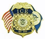 Immigration and Customs Enforcement Mini Badge and Flags Refrigerator Magnet