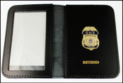 DHS Federal Protective Service Police Mini Badge ID Holder Case Gold Embossed with RETIRED