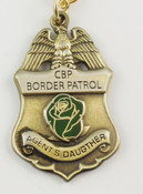 "U.S. Border Patrol Agent's ""Daugther"" Mini Badge and Rose Necklace - Antique Gold"
