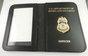 "TSA Federal Flight Deck Officer Mini Badge Leather ID Wallet with ""DHS and Officer"" Embossing"