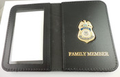 """TSA Federal Flight Deck Officer Mini Badge Leather ID Wallet with """"Family Member"""" Embossing"""