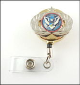Department of Homeland Security Seal Wreath ID Holder ID Reel in Gold
