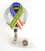 "Chrome U.S. Border Patrol ""Support Our Agent's"" Ribbon Retractable ID Reel"