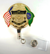 Gold U.S. Border Patrol Agent Mini Badge and Flags Retractable ID Reel