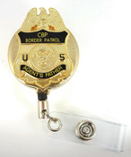 Gold U.S. Border Patrol Agent's Father Mini Badge Retractable ID Reel
