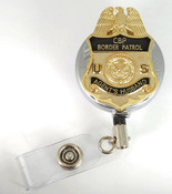 Chrome U.S. Border Patrol Agent's Husband Mini Badge Retractable ID Reel