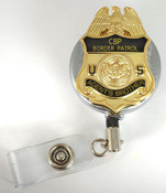 Chrome U.S. Border Patrol Agent's Brother Mini Badge Retractable ID Reel