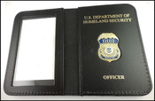 Dept of Homeland Security Officer Mini Badge ID Wallet-DHS & OFFICER Embossed