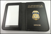 FEMA Mini Badge Leather ID Holder Case w/ DHS and Officer Embossing