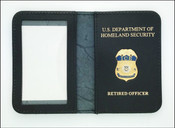 Immigration and Customs Enforcement Intelligence Officer Mini Badge ID Wallet with Retired Officer Embossing