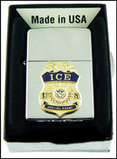 ICE Chrome Cigarette Lighter with an ICE Special Agent Mini Badge