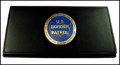 US Border Patrol Leather Checkbook Cover with a USBP Logo Medallion