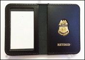 Customs and Border Protection Watch Commander Mini Badge ID Cases with Retired Embossing