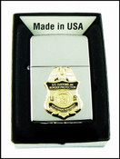 Chrome Lighter with a CBP Air Interdiction Agent Mini Badge