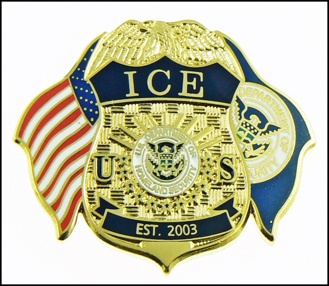 Immigration And Customs Enforcement Mini Badge And Flags