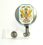 U.S. Park Police Patch Retractable ID Holder in a chrome tone ID Reel