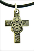 CBP Air Interdiction Mini Badge and Celtic Cross Necklace in Antique Silver