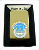 Capitol Police Mini Patch Cigarette Lighter in Brass