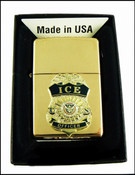 ICE Brass Cigarette Lighter with an ICE Officer Mini Badge
