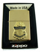 Brass Lighter with a CBP Air Interdiction Agent Mini Badge