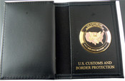 Office of Air and Marine Medallion Credential Case with Gold Embossing