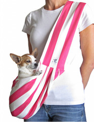 Dog Sling - Cotton Bright Pink and White Striped