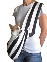 Dog Sling - Cotton Black and White Striped