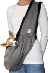 Luxury Dog Sling - Gray Microsuede lined with luxurious black Faux Fur