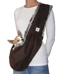 Luxury Dog Sling-Chocolate lined with Chocolate Swirl Faux Fur - Made in the USA