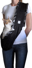 Luxury Dog Sling- Black Microsuede lined with Black Marbled Faux Fur