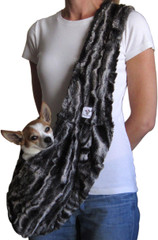 Dog Sling - Faux Fur Black Marble