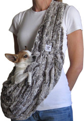 Dog Sling - Faux Fur Chocolate Swirl