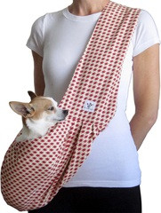 Dog Sling - Cotton Red and Cream Houndstooth