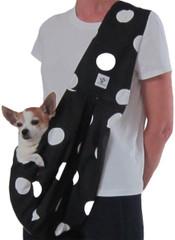 Dog Sling - Cotton Black and White Polka Dot