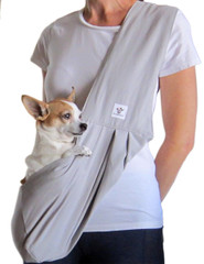 Dog Sling - Cotton Gray with Striped Interior