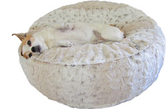 Luxury Faux Fur Dog Bed - Ivory Leopard Small