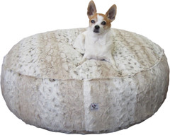 Luxury Faux Fur Dog Bed - Ivory Leopard Large