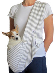 Dog Sling - Cotton White and Gray Stripe