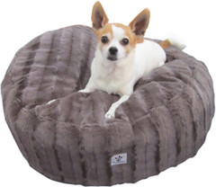 Luxury Faux Fur Dog Bed - Charcoal Small