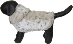 Dog Jacket - Faux Fur Ivory Leopard