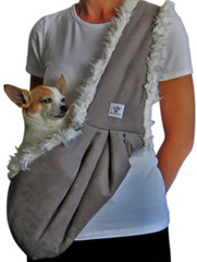 Dog Sling - Gray Microsuede lined with Cream Fluff