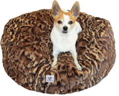 Luxury Faux Fur Dog Bed - Leopard