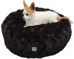 Luxury Faux Fur Dog Bed - Black Solid Small