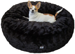 Luxury Faux Fur Dog Bed - Black Solid Large