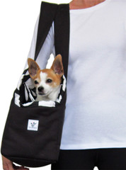 Dog Carrier - Black Cotton Canvas with Black and White Polka Dots