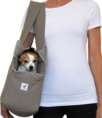 Dog Carrier - Taupe with Black and White Stripe