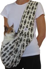 Dog Sling - Cotton Black Tan Cream Design