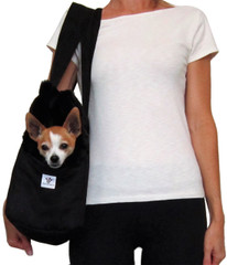 Dog Carrier - Black Microsuede with Black Faux Fur