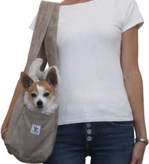 Dog Carrier - Stone Microsuede with Ivory Leopard Fur