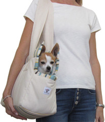 Dog Carrier - Cream Canvas with Multi-Stripe
